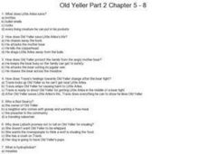 Printables Old Yeller Worksheets old yeller part 2 chapters 5 8 3rd 6th grade worksheet worksheet