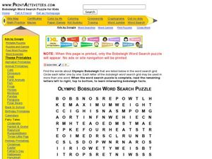 Olympic Bobsleigh Word Search Puzzle Worksheet