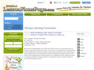 Olympic Opening Ceremonies Lesson Plan
