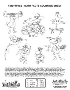 Olympics - Math Facts Coloring Sheet Worksheet