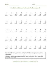 One-Digit Addition and Subtraction No Regrouping (J) Worksheet