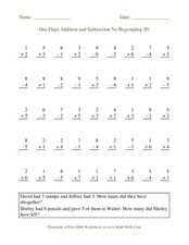 One-Digit Addition and Subtraction No Regrouping (P) Worksheet
