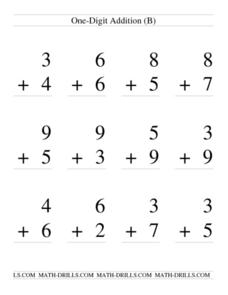 One-Digit Addition; With Regrouping (B) Worksheet