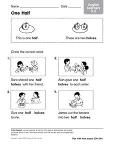 One Half: English Learners Worksheet