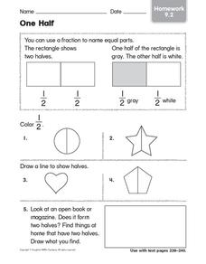 One Half: Homework Worksheet