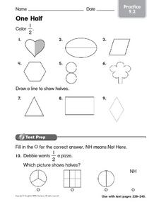 One Half Practice 9.2 Worksheet