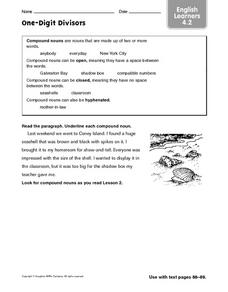 One-  One-Digit Divisors Worksheet