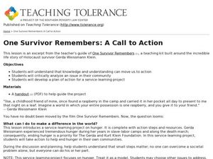 ONE SURVIVOR REMEMBERS: A Call to Action Lesson Plan