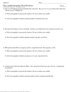 Printables Inequality Word Problems Worksheet one variable inequality word problems 7th 9th grade worksheet worksheet