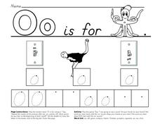 Oo is for Octopus, On, Ostrich and Off Worksheet
