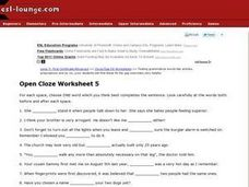 Open Cloze Worksheet 5 Worksheet