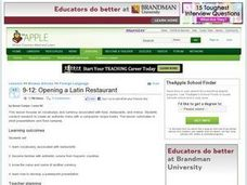 Opening a Latin Restaurant Lesson Plan