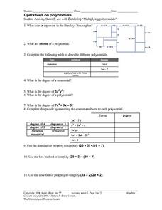 Printables Operations With Polynomials Worksheet operations with polynomials worksheet intrepidpath on 2 9th grade lesson pla