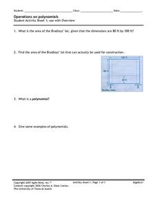 Operations on Polynomials Worksheet