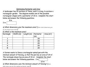 Optimizing Area Worksheet