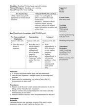 Oral Story Retell Lesson Plan