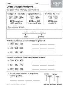 Order 3-Digit Numbers: Homework Worksheet