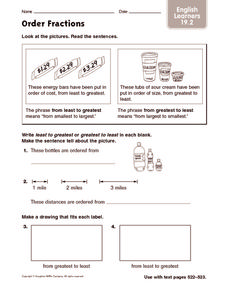 Order Fractions: English Learners Worksheet