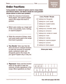 math worksheet : order fractions problem solving 4th  5th grade worksheet  : Fractions Problem Solving Worksheets