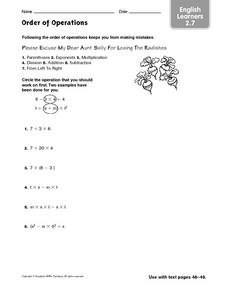 Order of Operations (English Learners 2.7) Worksheet
