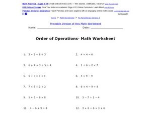 Order of Operations- Math Worksheet Worksheet