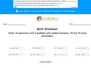 Order of Operations: Numbers between -10 and 10. Worksheet