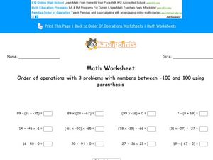 Order of Operations with 2 Problems with Numbers Between -100 and 100 Using Parenthesis Worksheet