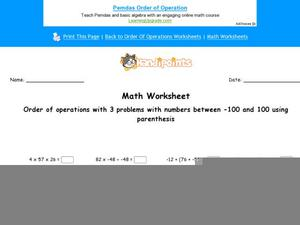 Order of Operations with 3-Number Equations: Part 10 Worksheet