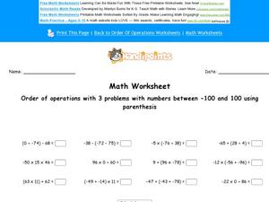 Order of Operations with 3-Number Equations: Part 6 Worksheet