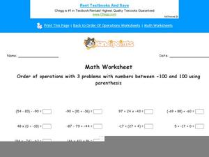 Order of Operations with 3-Number Equations: Part 8 Worksheet