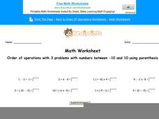 Order of Operations with 3 Problems with Numbers Between -10 and 10 Using Parenthesis: Part 1 Worksheet