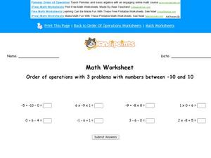 Order of Operations with 3 Problems with Numbers Between -10 and 10 Worksheet