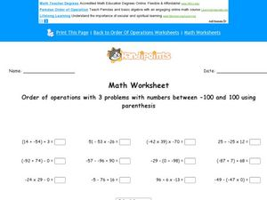 Order of Operations With 3 Problems With Numbers Between -100 and 100 Using Parenthesis Worksheet