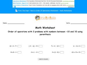 Order of Operations With 3 Problems Worksheet