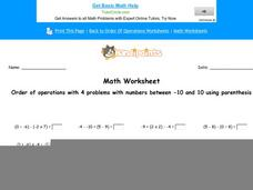 Order of Operations with 4 Problems with Number Between -10 and 10 Using Parenthesis: Part 10 Worksheet