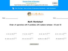 Order of Operations with 4 Problems with Numbers Between -10 and 10: Part 10 Worksheet