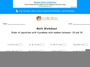 Order of Operations with 4 Problems with Numbers Between -10 and 10: Part 7 Worksheet