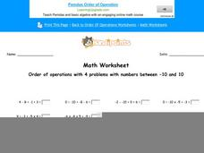 Order of Operations with 4 Problems with Numbers Between -10 and 10: Part 8 Worksheet