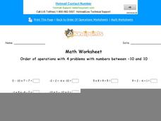 Order of Operations with 4 Problems with Numbers Between -10 and 10: Part 9 Worksheet