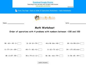 Order of Operations with 4 Problems, with Numbers between -100 and 100: Part 4 Worksheet