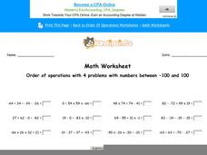 Order of Operations with 4 Problems with Numbers Between -100 and 100: Part 6 Worksheet