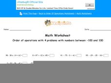 Order of Operations with 4 Problems with Numbers Between -100 and 100: Part 8 Worksheet