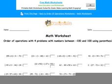 Order of Operations with 4 Problems with Numbers Between -100 and 100 Using Parenthesis: Part 4 Worksheet