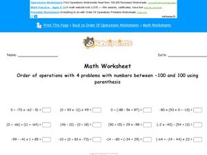 Order of Operations With 4 Problems With Numbers Between -100 and 100 Using Parenthesis Worksheet