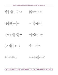 math worksheet : order of operations with decimals and fractions a 5th  6th  : Fraction Equations Worksheets