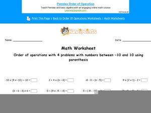 Order of Operations With Four Numbers Worksheet