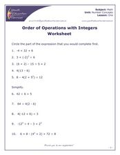 Order of Operations With Integers Worksheet