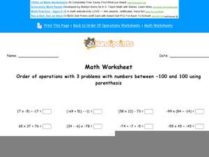 Order Operations With Parenthesis Worksheet