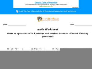 Order Operations With Three Problems Worksheet