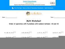 Order Operations Worksheet